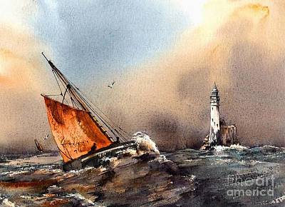 Rounding The Fastnet Print by Val Byrne