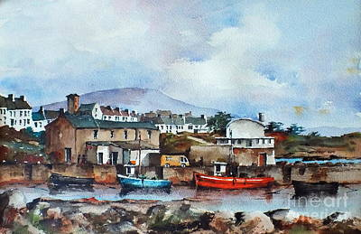 Roundstone Old Harbour Galway Print by Val Byrne