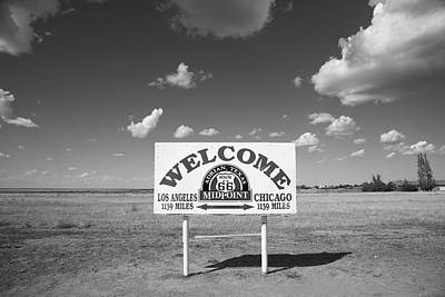 Route 66 - Midpoint Sign Print by Frank Romeo