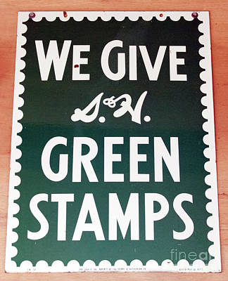 Route 66 Odell Il Gas Station Green Stamps Signage Print by Thomas Woolworth
