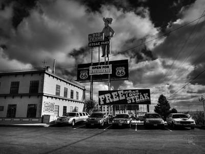 Amarillo Texas Photograph - Route 66 - The Big Texan 002 Bw by Lance Vaughn