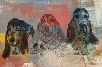 Row Of Basset Hounds Print by Michelle Wolff