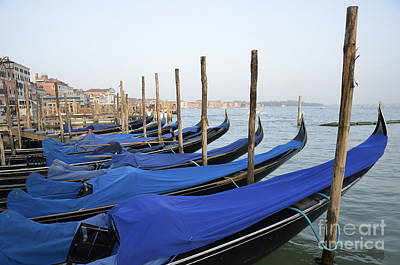 Row Of Empty Moored Gondolas Print by Sami Sarkis