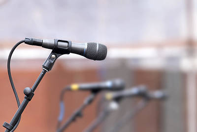 Backup Photograph - Row Of Microphones For Backup Singers by JPLDesigns