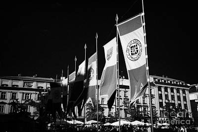 Polish City Photograph - Row Of Red And White 750 Years Celebration Banners In Rynek Glowny Town Square Krakow by Joe Fox