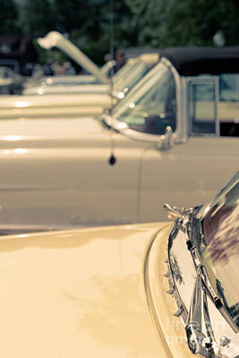 Row Of Vintage Cars Print by Edward Fielding