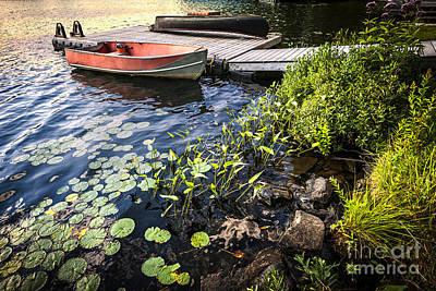 Wooden Boat Photograph - Rowboat At Lake Shore At Dusk by Elena Elisseeva