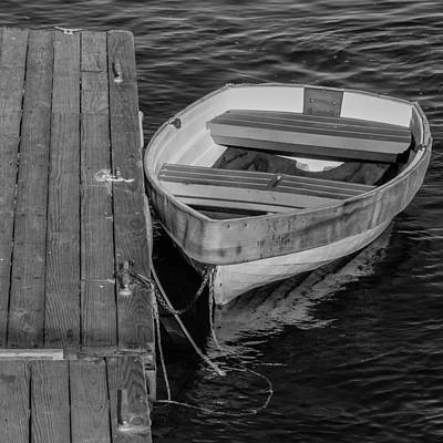 Dinghy Photograph - Rowboat - Black And White by Kirkodd Photography Of New England