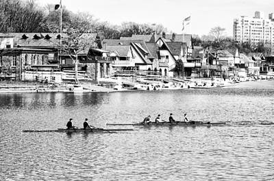 Rowing Along The Schuylkill River In Black And White Print by Bill Cannon
