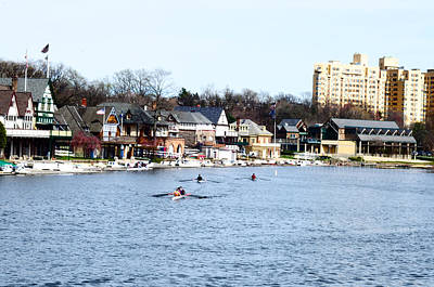 Rowing At Boathouse Row Print by Bill Cannon
