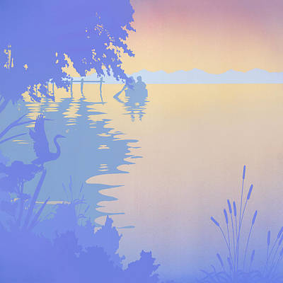 Decorative Painting - Rowing Back To The Boat Dock At Sunset Abstract by Walt Curlee