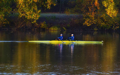 Rowing In Autumn Print by Bill Cannon