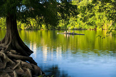 Austin Photograph - Rowing Past Red Bud Island by Mark Weaver