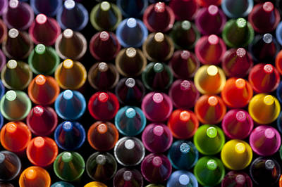 Rows Of Multicolored Crayons  Print by Jim Corwin