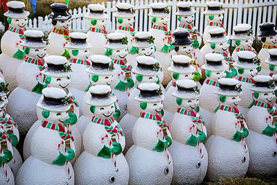 Rows Of Snowmen Print by Garry Gay
