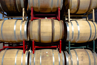 Central Coast Winery Photograph - Rows Of Wine Barrels by Richard Cheski