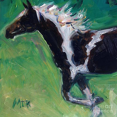 Paint Horse Oil Painting Roxy Print by Maria's Watercolor