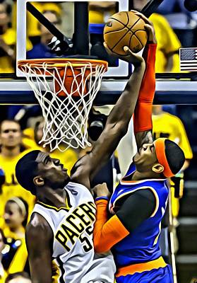 Roy Hibbert Vs Carmelo Anthony Print by Florian Rodarte