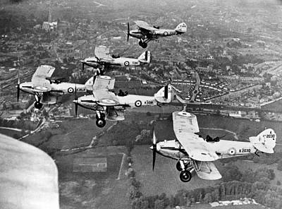 Airplane Photograph - Royal Air Force Formation by Underwood Archives