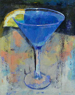 Abstract Lemons Painting - Royal Blue Martini by Michael Creese