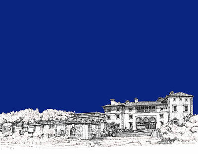 Pen Drawing - Royal Blue Vizcaya In Miami by Building  Art