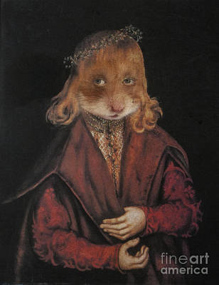 Royal Ginger Hamster Human Body Animal Head Portrait Original by Jolanta Meskauskiene