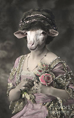 Royal Miss Sheep Human Body Animal Head Portrait Original by Jolanta Meskauskiene