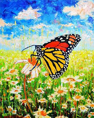 Cloudy Day Painting - Royal Monarch Butterfly In Daisies by Ana Maria Edulescu