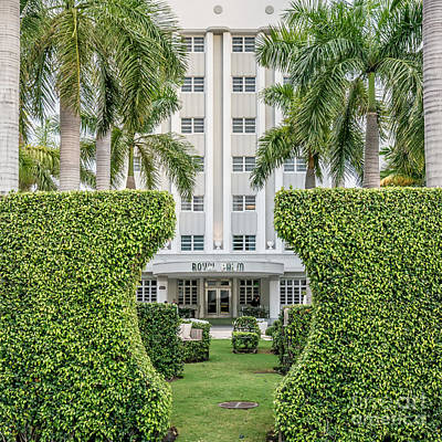 Royal Palm Hotel On South Beach Miami - Square Crop Print by Ian Monk