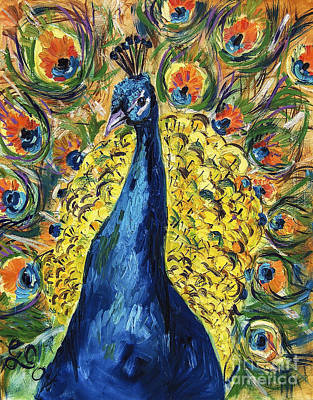 India Wildlife Painting - Royal Peacock by Ginette Callaway