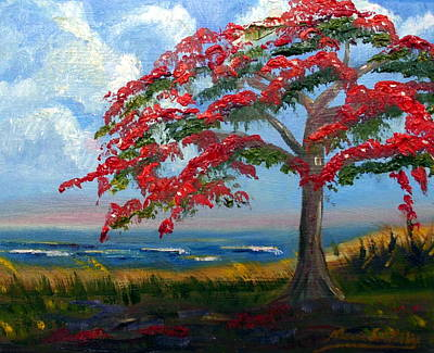 Flamboyan Tree Painting - Royal Poinciana Morning by Maria Soto Robbins