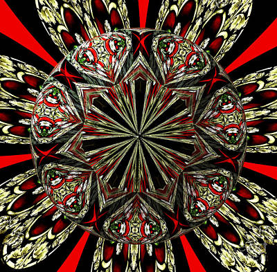 Royal Stained Glass Kaleidoscope Under Glass Print by Rose Santuci-Sofranko