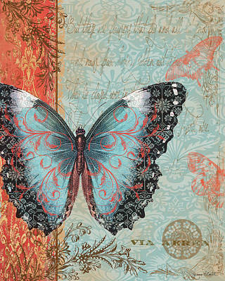 Baroque Mixed Media - Royal Tapestry Butterfly by Jean PLout