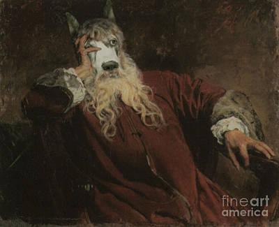 Royal The Lord Dog Human Body Animal Head Portrait Original by Jolanta Meskauskiene