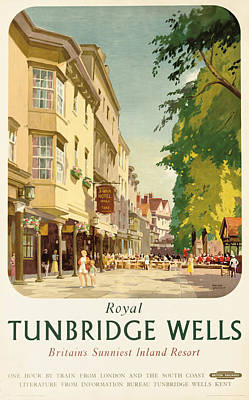 Graphic Drawing - Royal Tunbridge Wells Poster Advertising British Railways by Frank Sherwin