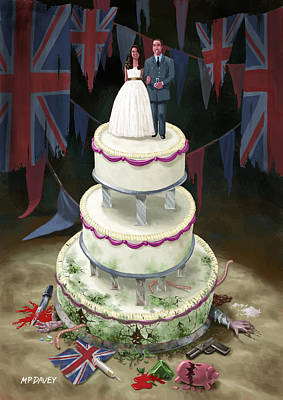 Kate Middleton Drawing - Royal Wedding 2011 Cake by Martin Davey