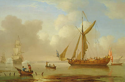 Royal Yacht Becalmed At Anchor Print by  Peter Monamy