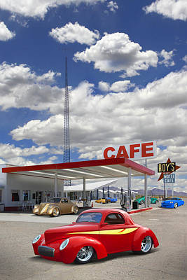 Motel Digital Art - Roy's Gas Station - Route 66 by Mike McGlothlen