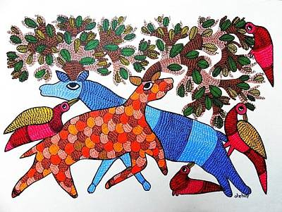 Gond Art Gallery Painting - Rt 22 by Ramesh Tekam