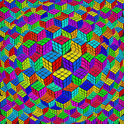 Rubiks Cube Painting - Rubik's Cube Abstract Perspective by Tony Rubino