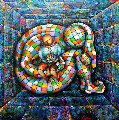 Rubiks Cube Painting - Rubik's Cube by Hayk Matsakyan