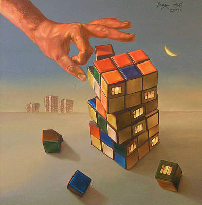 Rubiks Cube Painting - Rubik's Cube Of Fate by Liza Ray