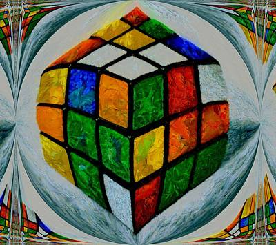 Red Cube Painting - Rubiks by Dan Sproul