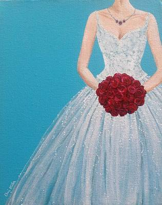 Wedding Bouquet Painting - Fashion Painting Wedding Dress - Bride - Ruby Red by Cheri Miller