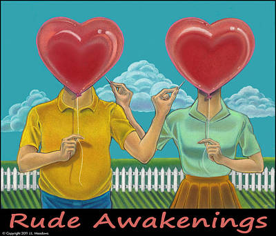 Rude Awakenings With Caption Print by J L Meadows