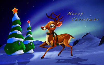 Rudolph Print by Virginia Palomeque