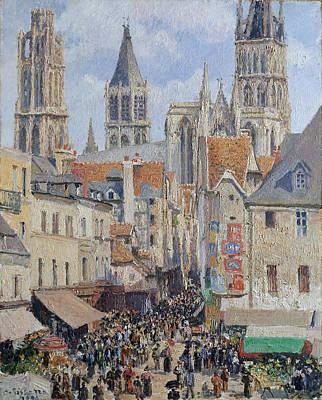 Epicerie Painting - Rue De L'epicerie. Rouen. Effect Of Sunlight  by Camille Pissarro