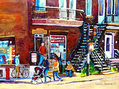 Epicerie Painting - Rue Laurier Depanneur Montreal Summer Scene Paintings Carole Spandau by Carole Spandau