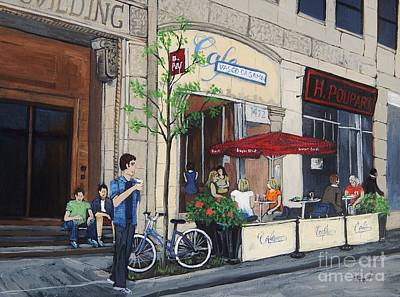 Quebec Art Painting - Rue Peel by Reb Frost