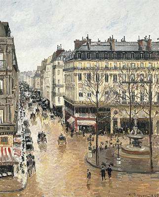 Rue Saint Honore In The Afternoon. Effect Of Rain Print by Camille Pissarro